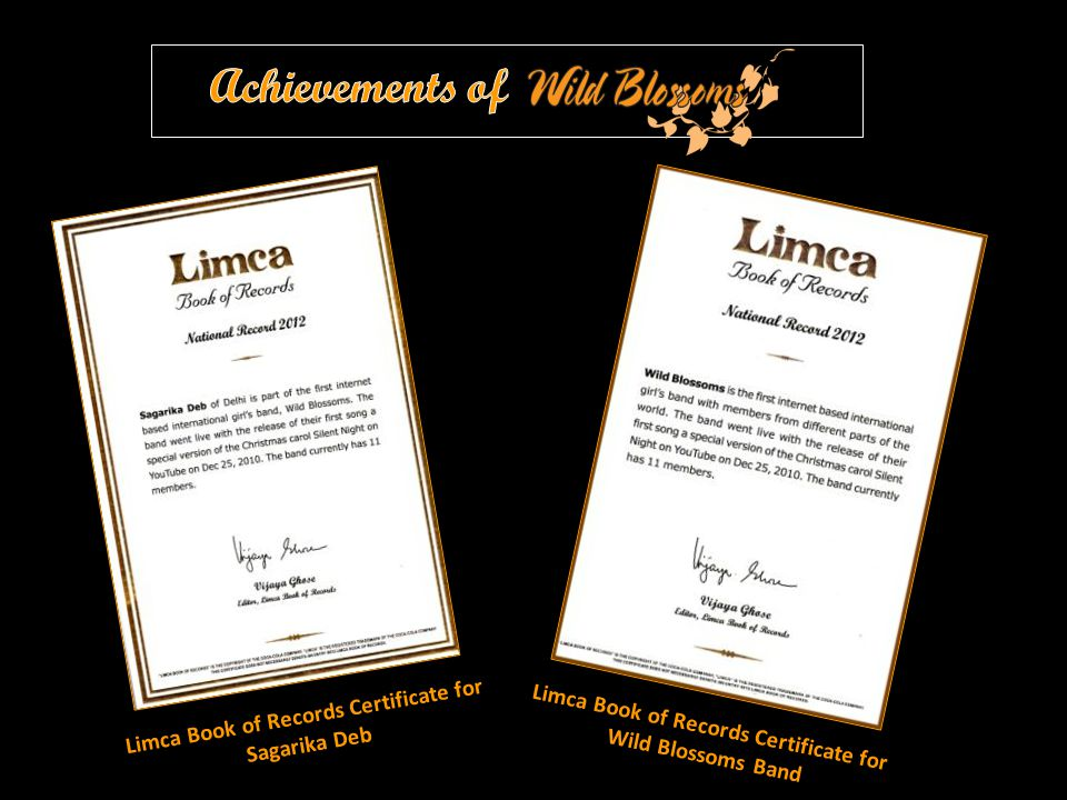 Limca Book of Records Certificate for Sagarika Deb