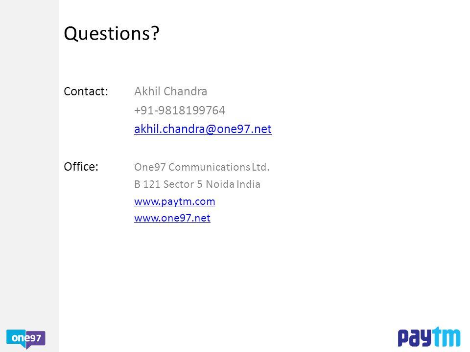 Questions Contact: Akhil Chandra +91-9818199764