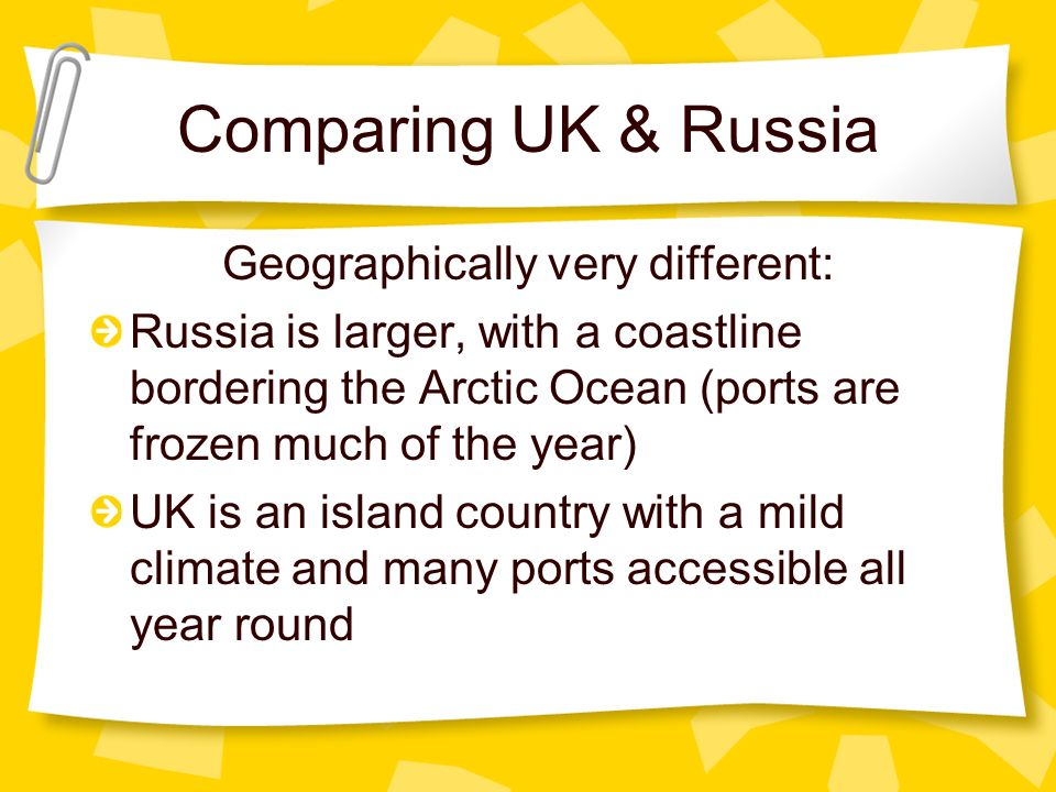 Geographically very different: