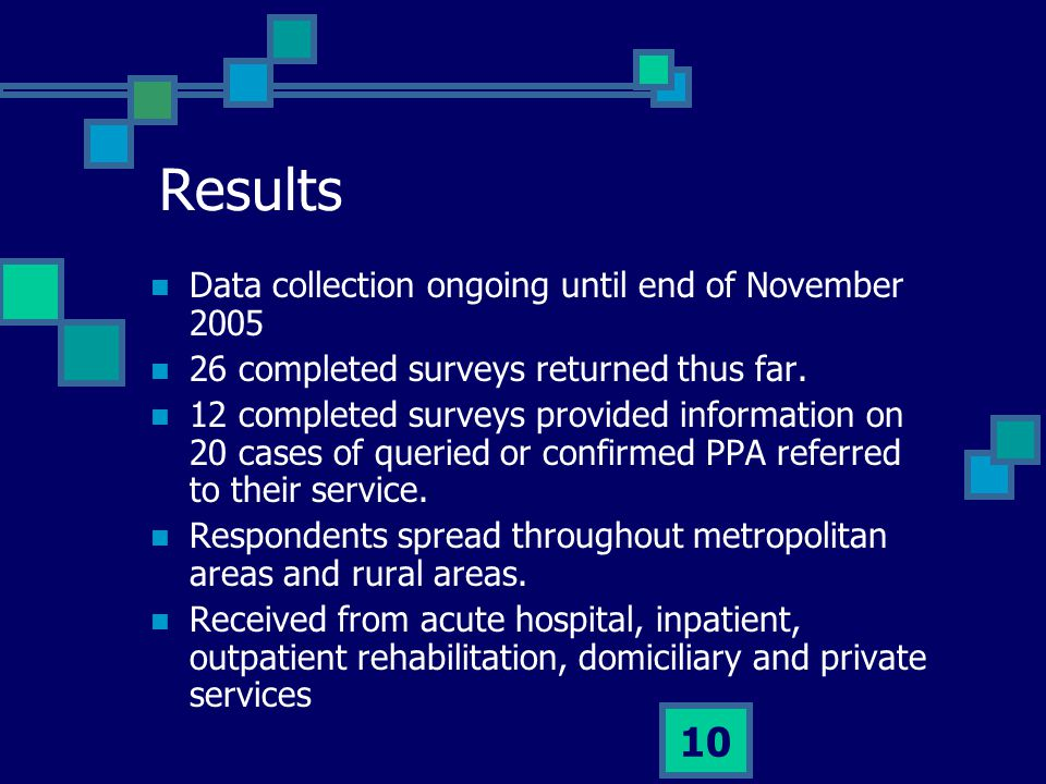 Results Data collection ongoing until end of November 2005