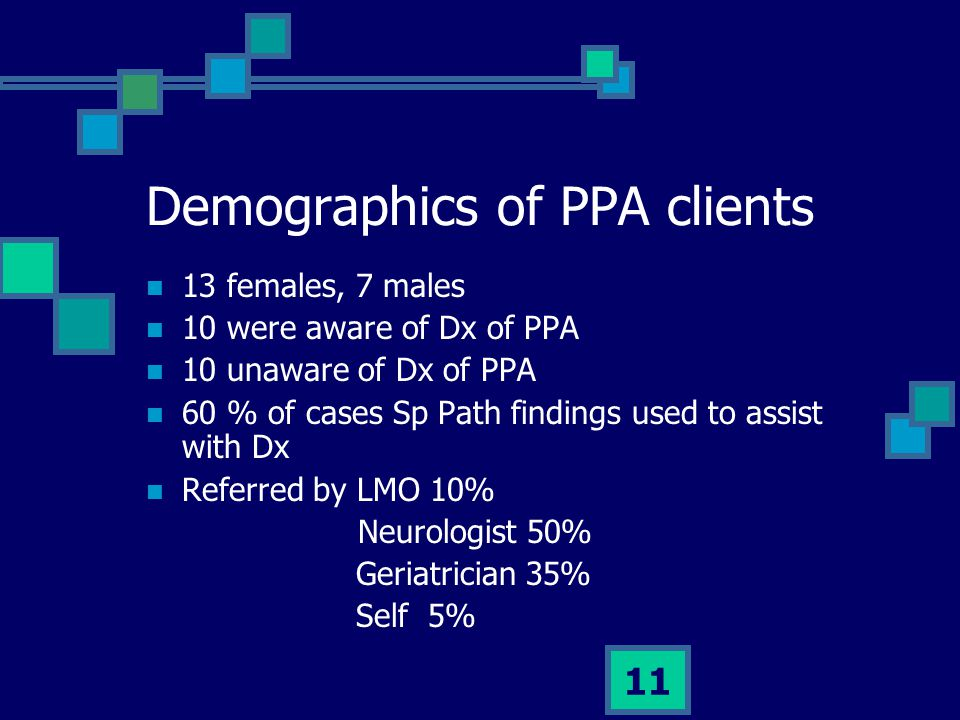Demographics of PPA clients
