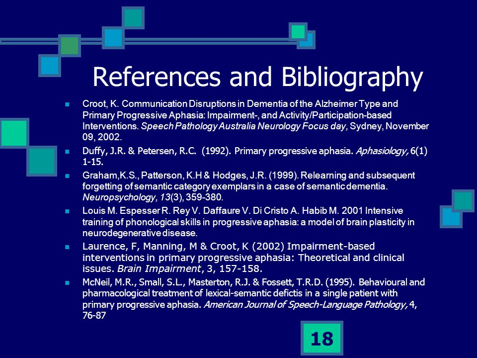 References and Bibliography