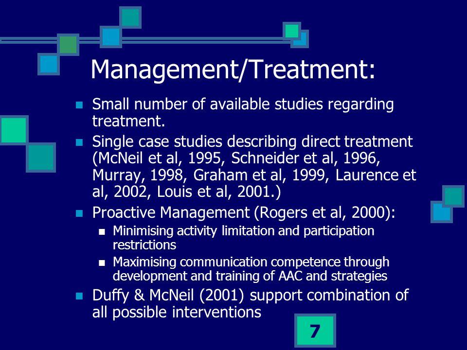 Management/Treatment: