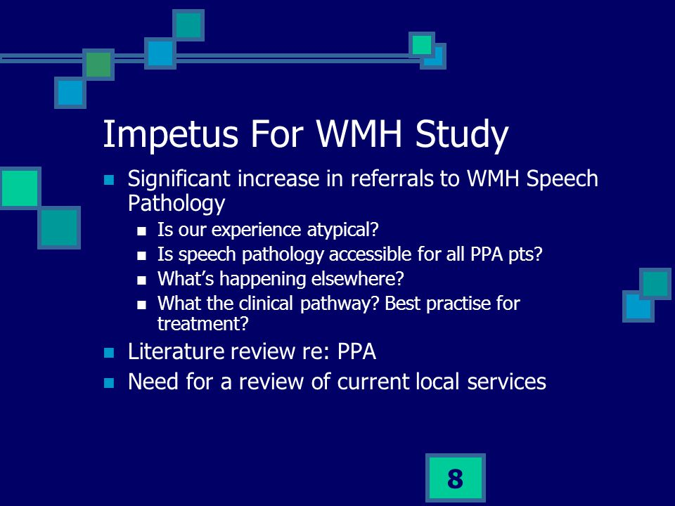 Impetus For WMH Study Significant increase in referrals to WMH Speech Pathology. Is our experience atypical