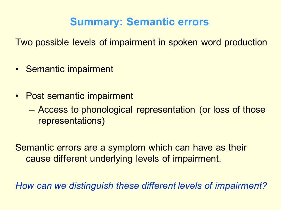 Summary: Semantic errors