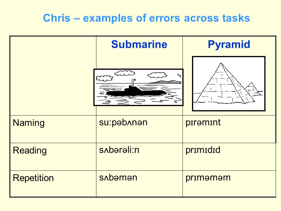 Chris – examples of errors across tasks