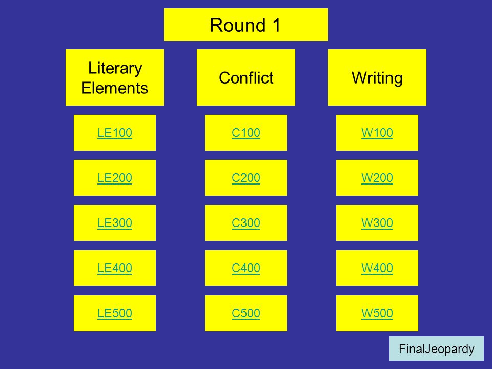 Round 1 Literary Elements Conflict Writing LE100 C100 W100 LE200 C200