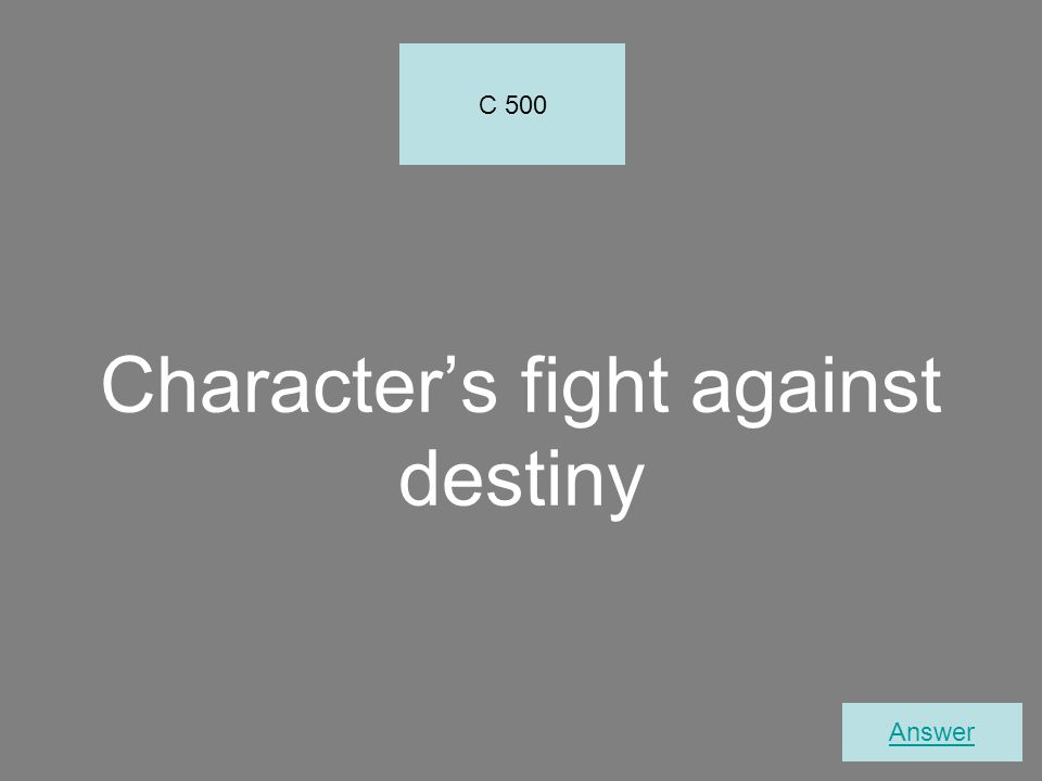 Character's fight against destiny