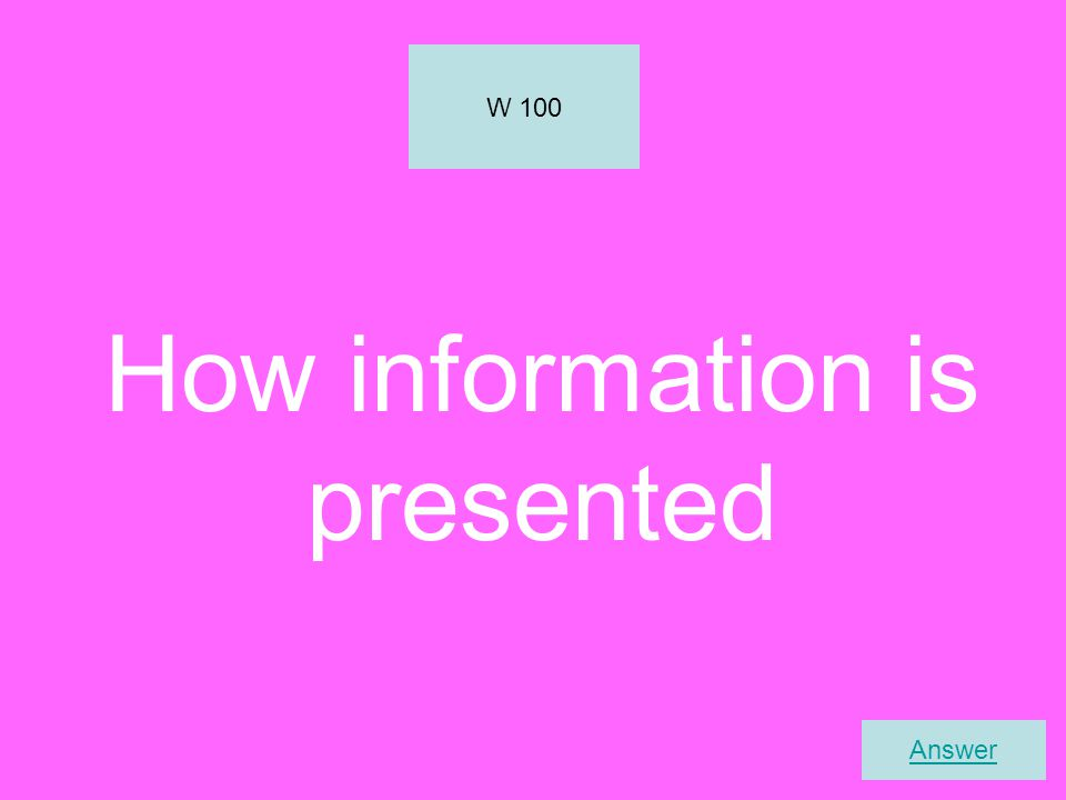 How information is presented