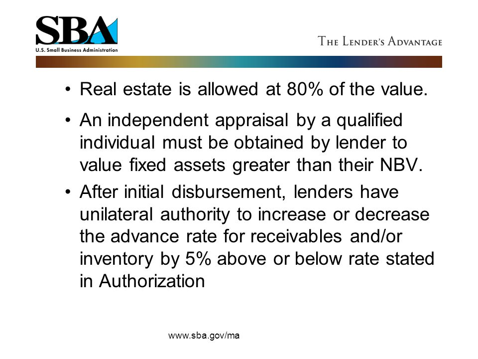 Real estate is allowed at 80% of the value.