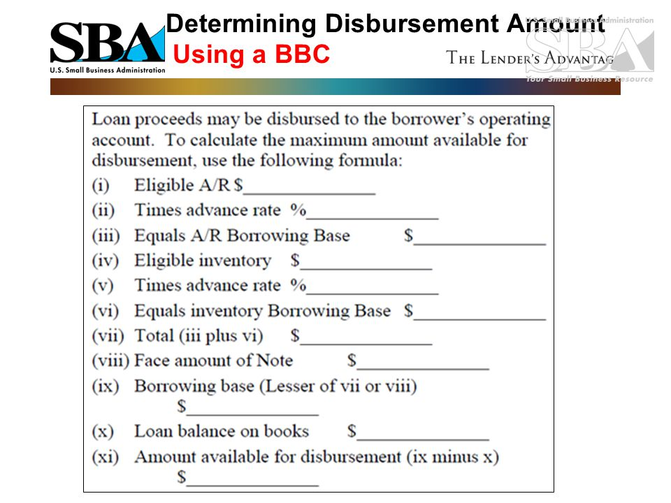 Determining Disbursement Amount Using a BBC