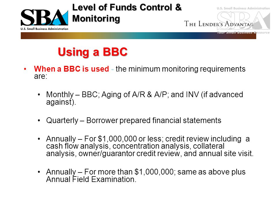Using a BBC Level of Funds Control & Monitoring