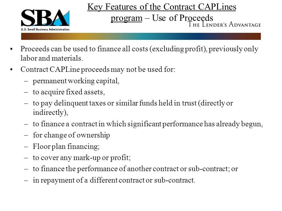 Key Features of the Contract CAPLines program – Use of Proceeds