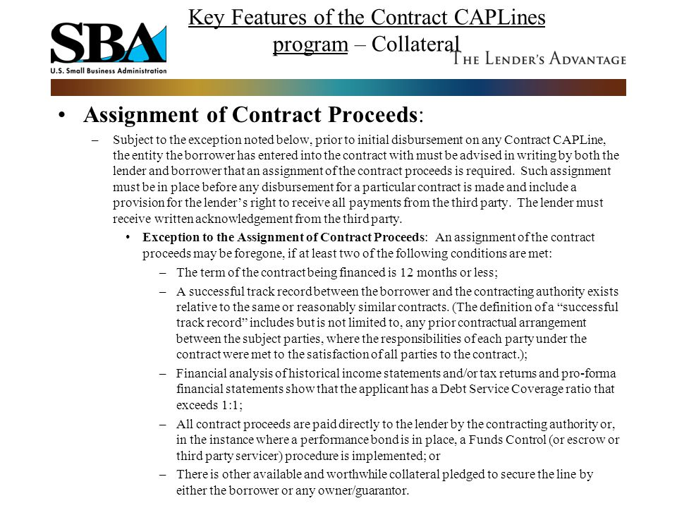 Key Features of the Contract CAPLines program – Collateral