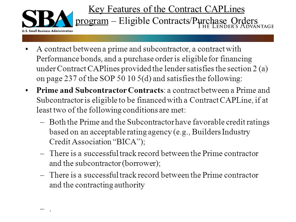 Key Features of the Contract CAPLines program – Eligible Contracts/Purchase Orders