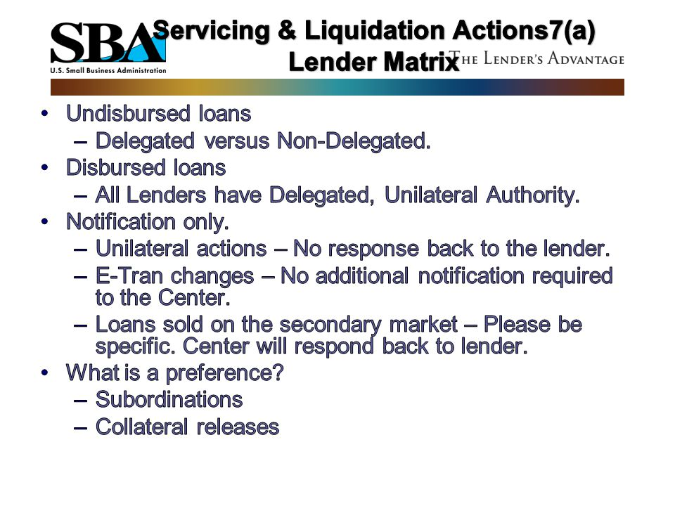 Servicing & Liquidation Actions7(a) Lender Matrix
