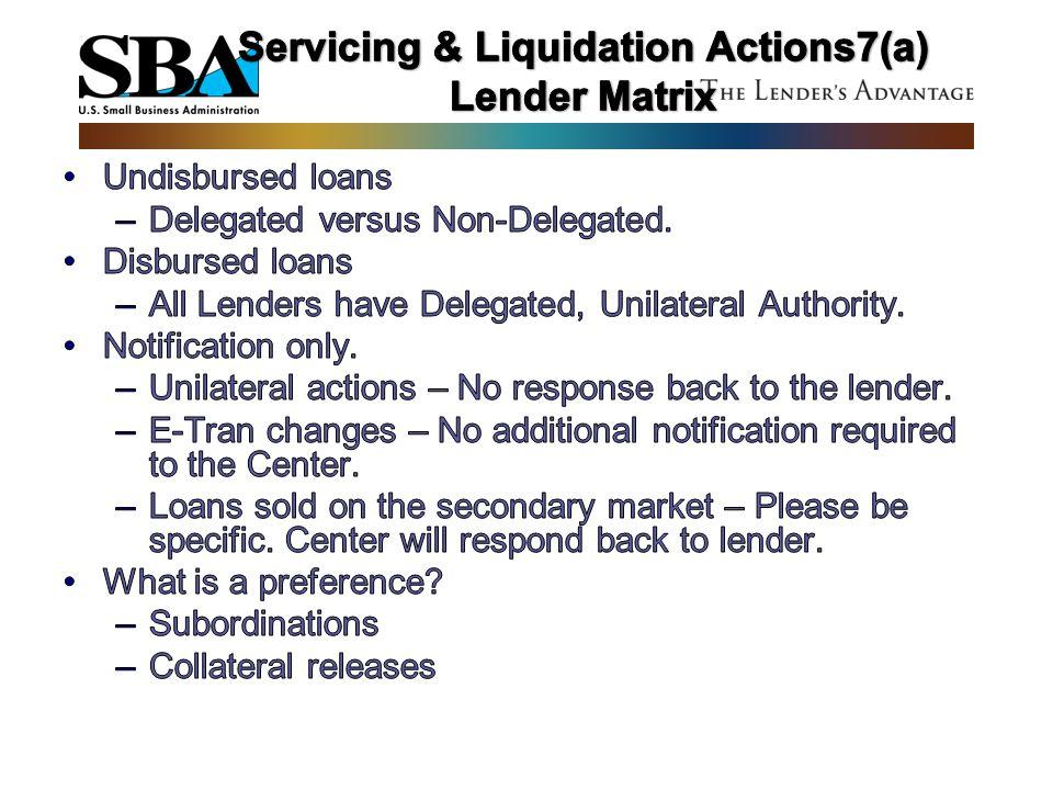 Servicing & Liquidation Actions7(a) Lender Matrix