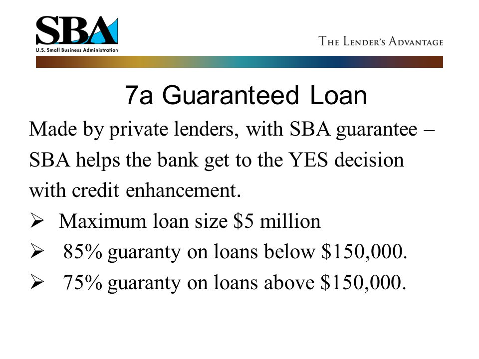 Made by private lenders, with SBA guarantee –