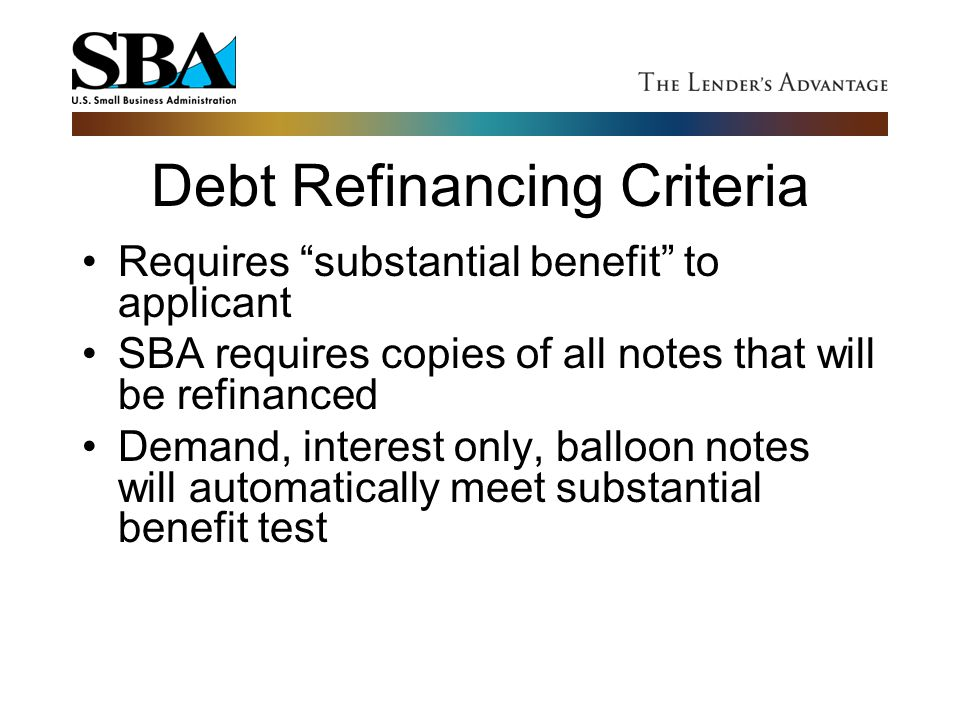 Debt Refinancing Criteria