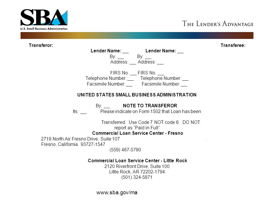 Transferor:. Transferee: Lender Name:. Lender Name: By:. By:. Address: