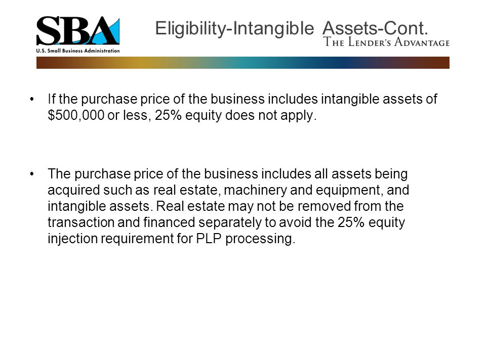 Eligibility-Intangible Assets-Cont.
