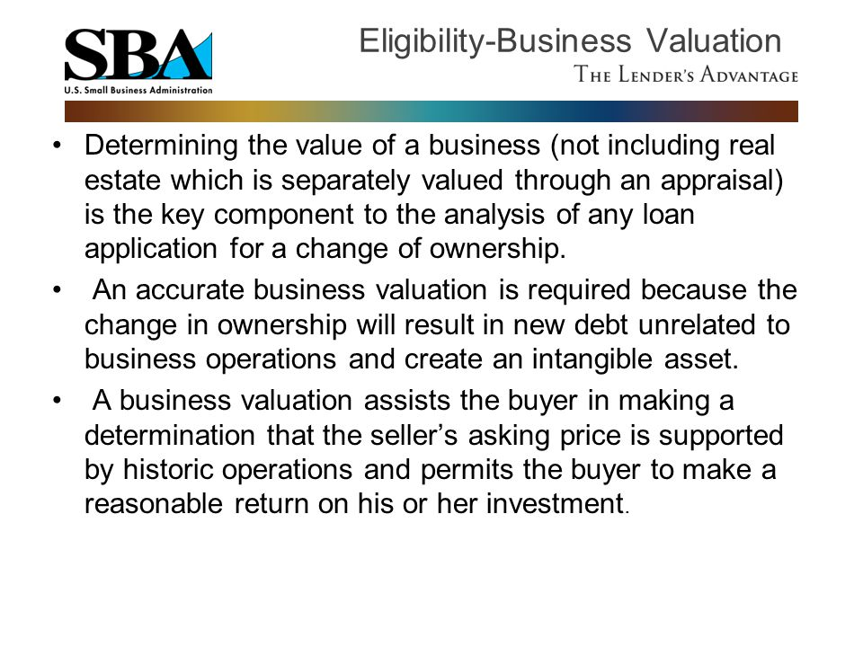 Eligibility-Business Valuation