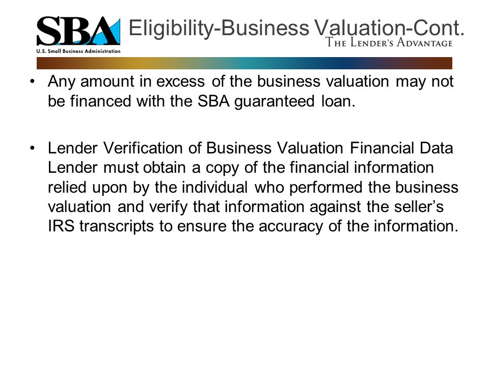 Eligibility-Business Valuation-Cont.