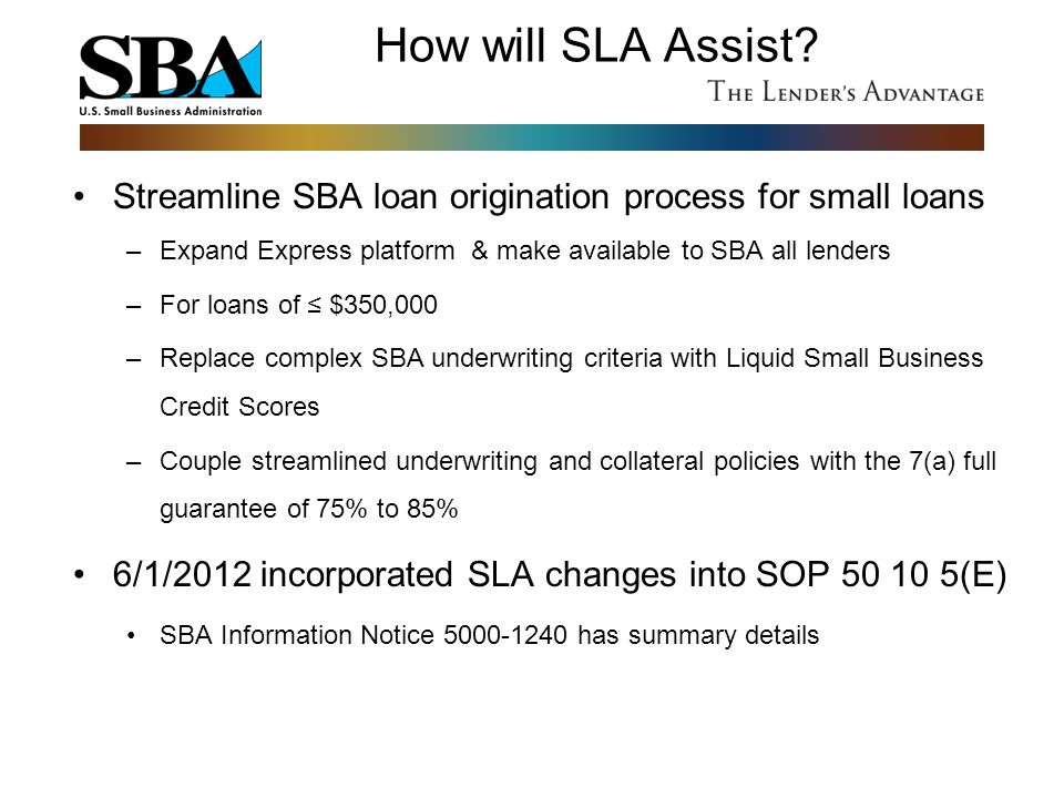 How will SLA Assist Streamline SBA loan origination process for small loans. Expand Express platform & make available to SBA all lenders.