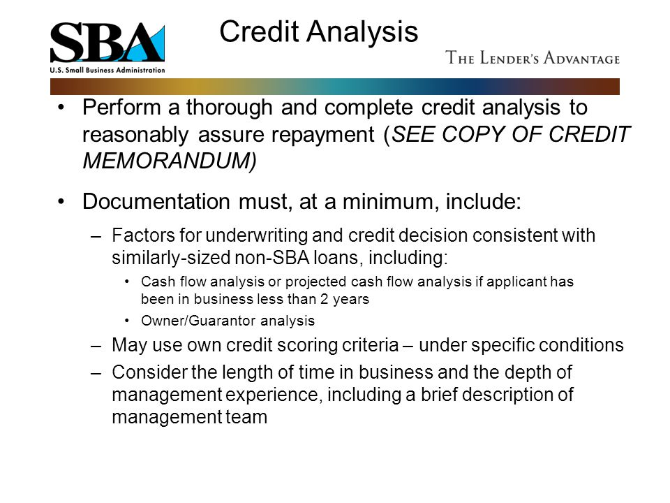 Credit Analysis Perform a thorough and complete credit analysis to reasonably assure repayment (SEE COPY OF CREDIT MEMORANDUM)