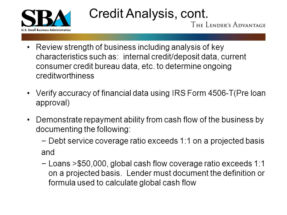 Credit Analysis, cont.