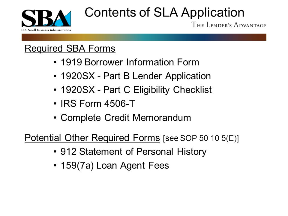 Contents of SLA Application