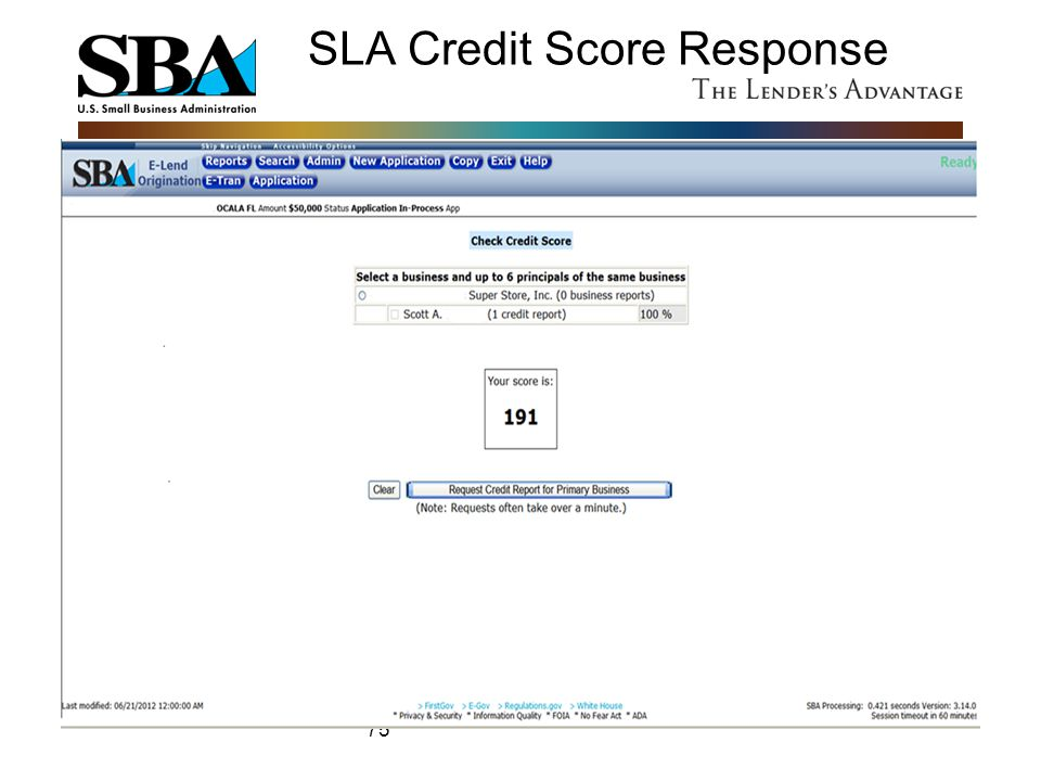 SLA Credit Score Response