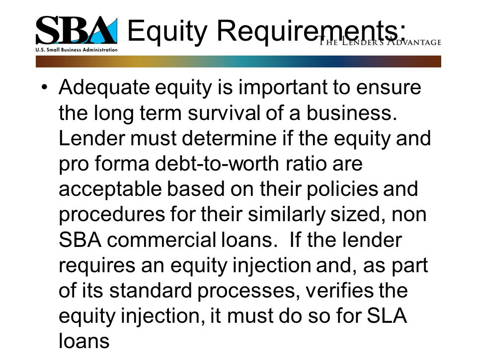 Equity Requirements: