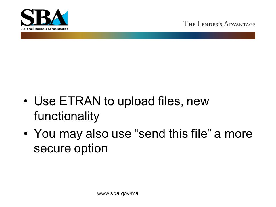 Use ETRAN to upload files, new functionality