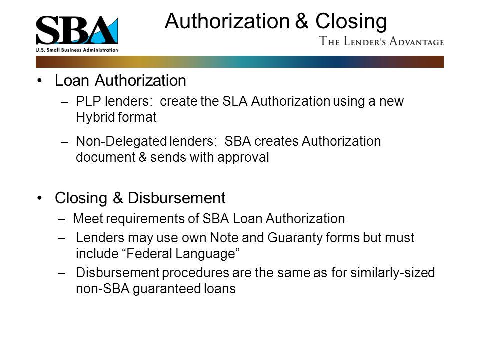 Authorization & Closing