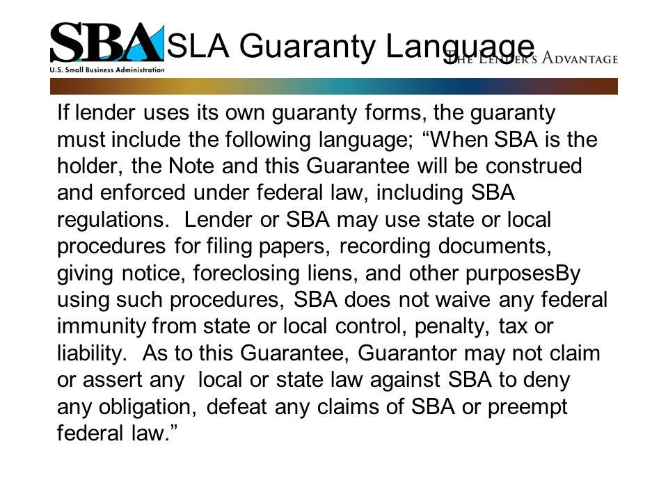 SLA Guaranty Language