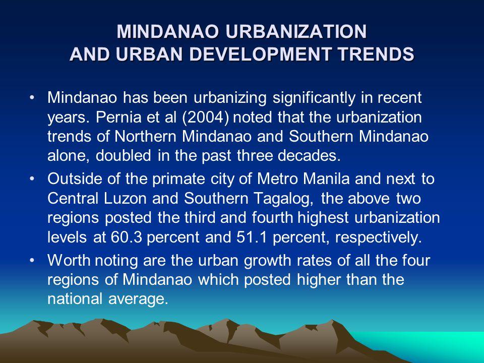 MINDANAO URBANIZATION AND URBAN DEVELOPMENT TRENDS
