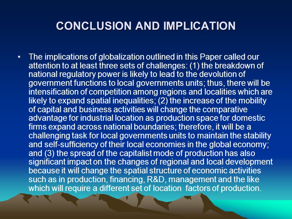 CONCLUSION AND IMPLICATION