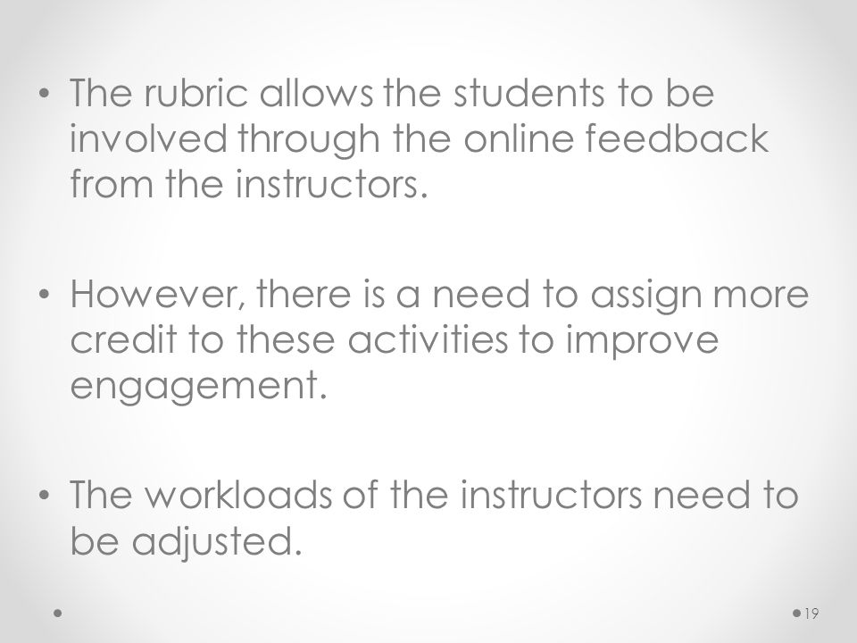 The rubric allows the students to be involved through the online feedback from the instructors.