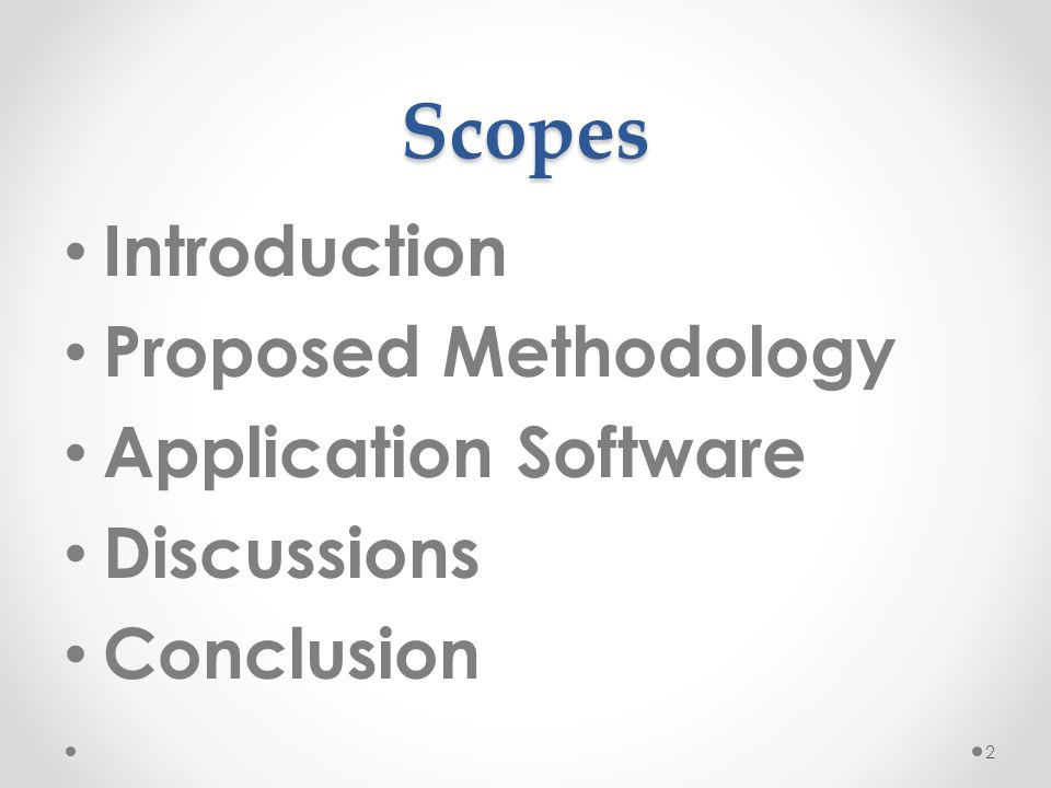 Scopes Introduction Proposed Methodology Application Software