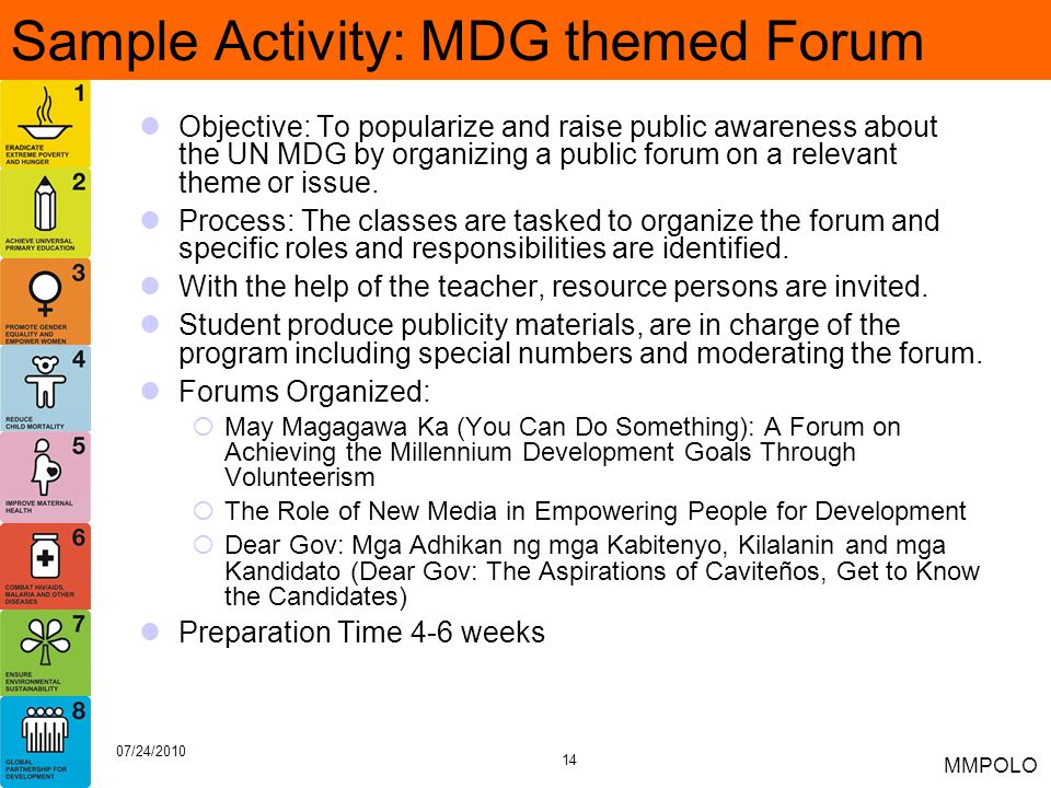 Sample Activity: MDG themed Forum
