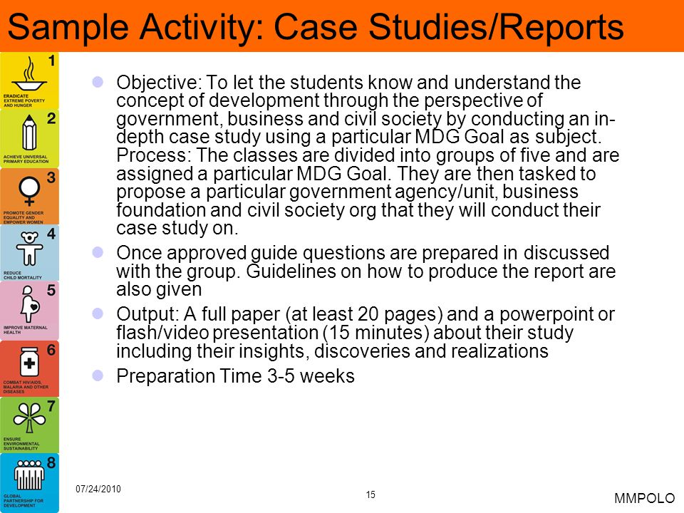 Sample Activity: Case Studies/Reports