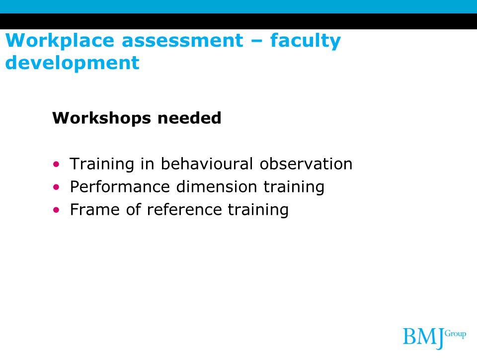 Workplace assessment – faculty development