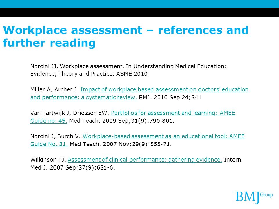 Workplace assessment – references and further reading