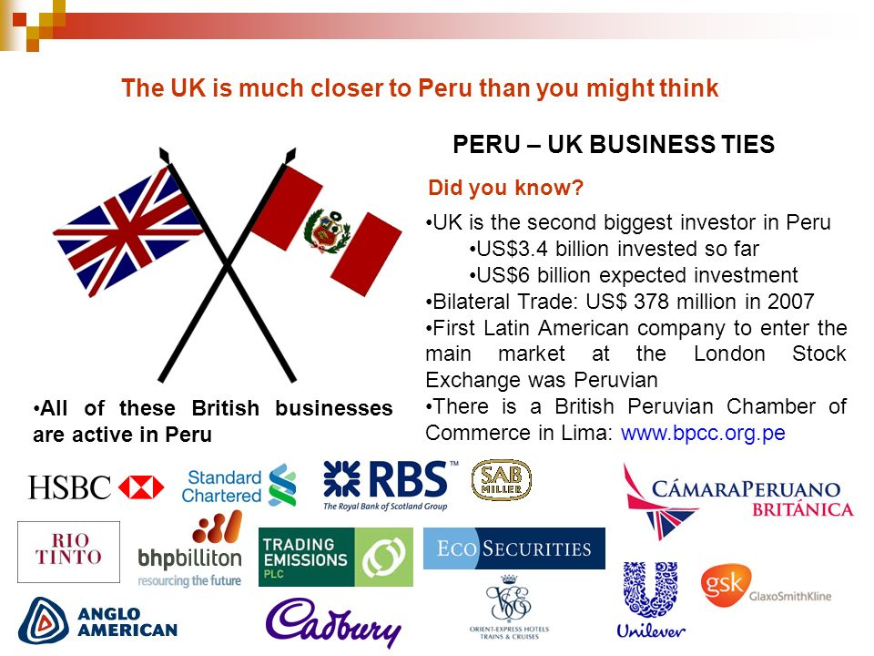The UK is much closer to Peru than you might think