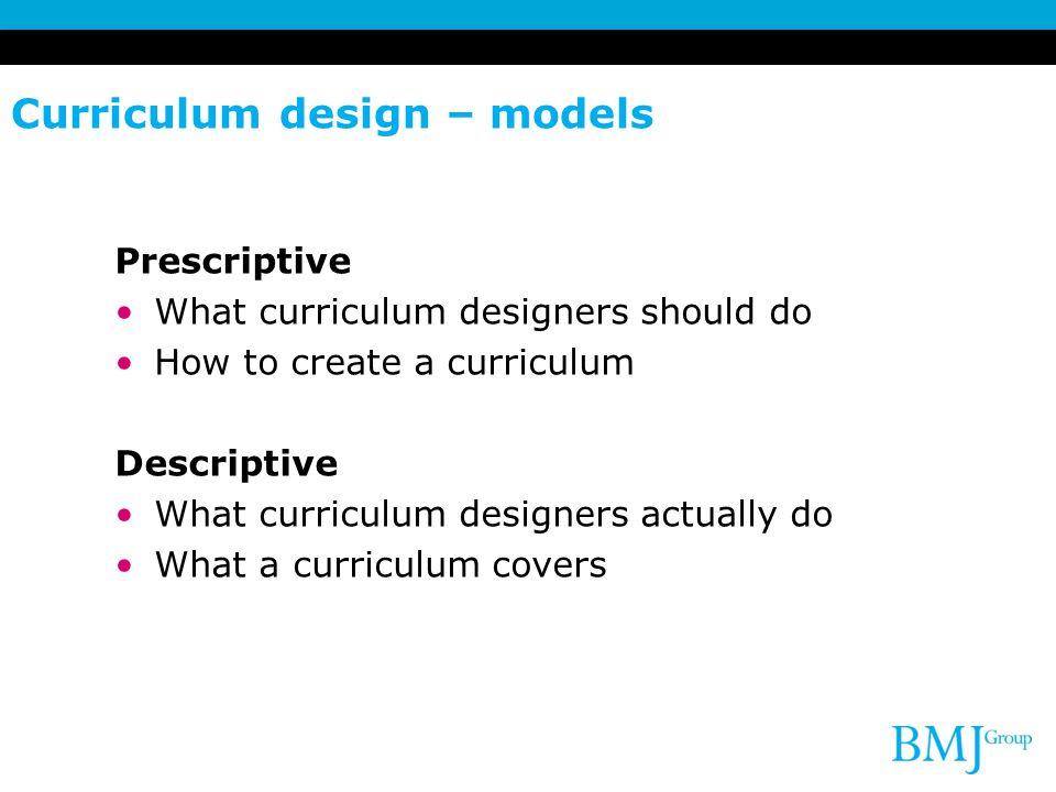 Curriculum design – models
