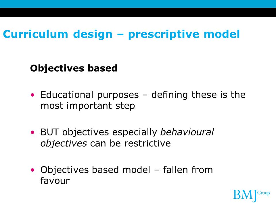 Curriculum design – prescriptive model