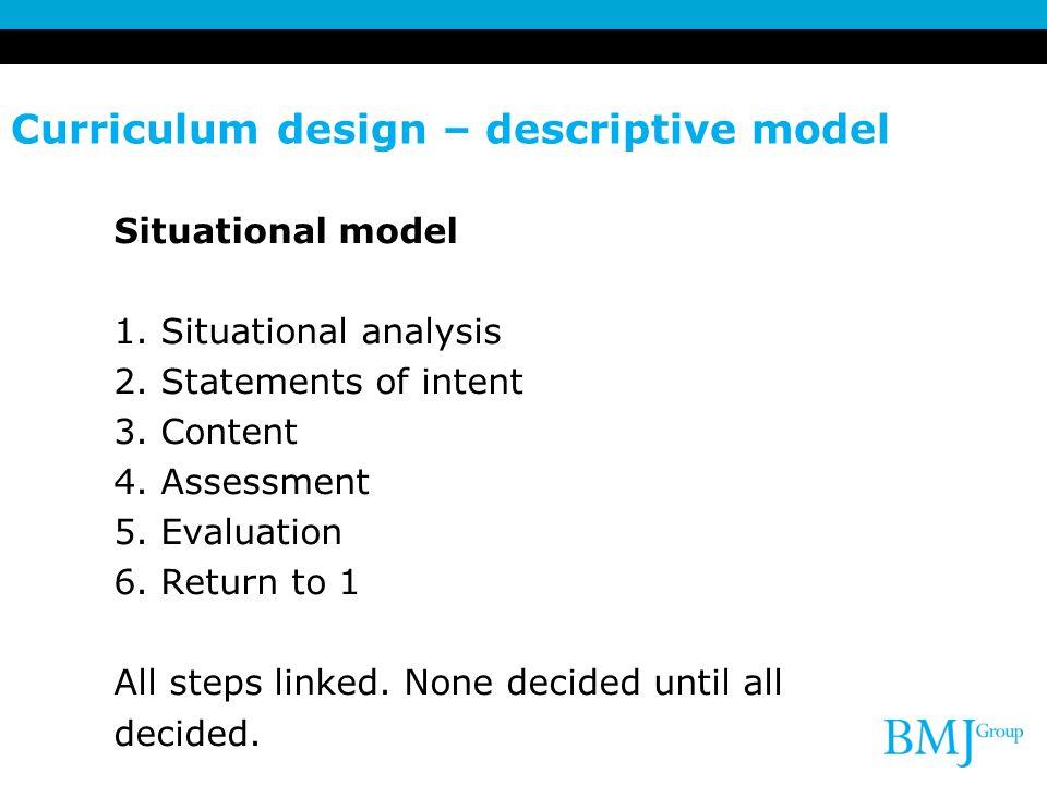 Curriculum design – descriptive model
