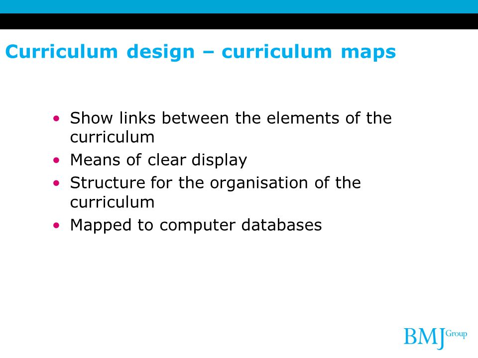 Curriculum design – curriculum maps