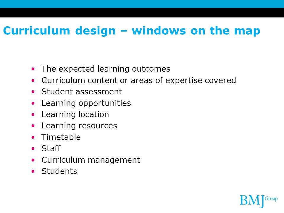 Curriculum design – windows on the map